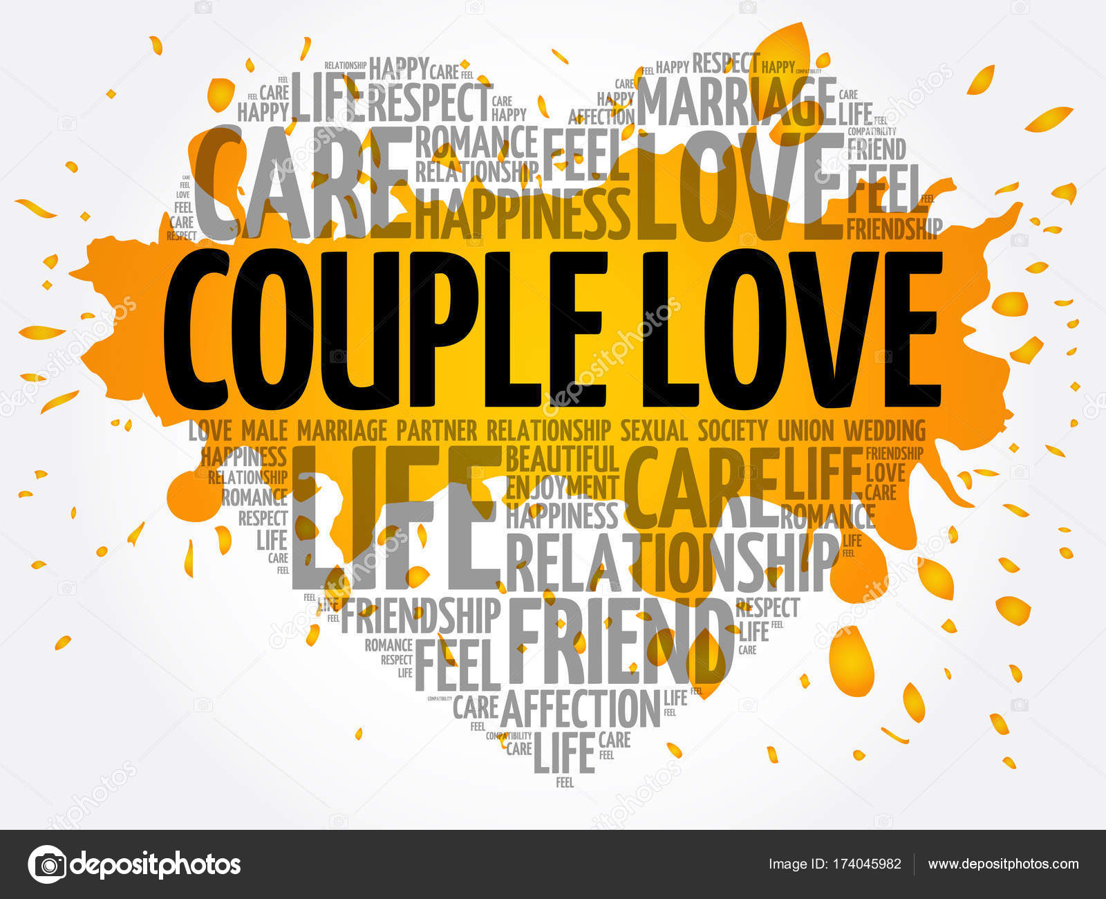 Couple Love Word Cloud Collage Stock Vector