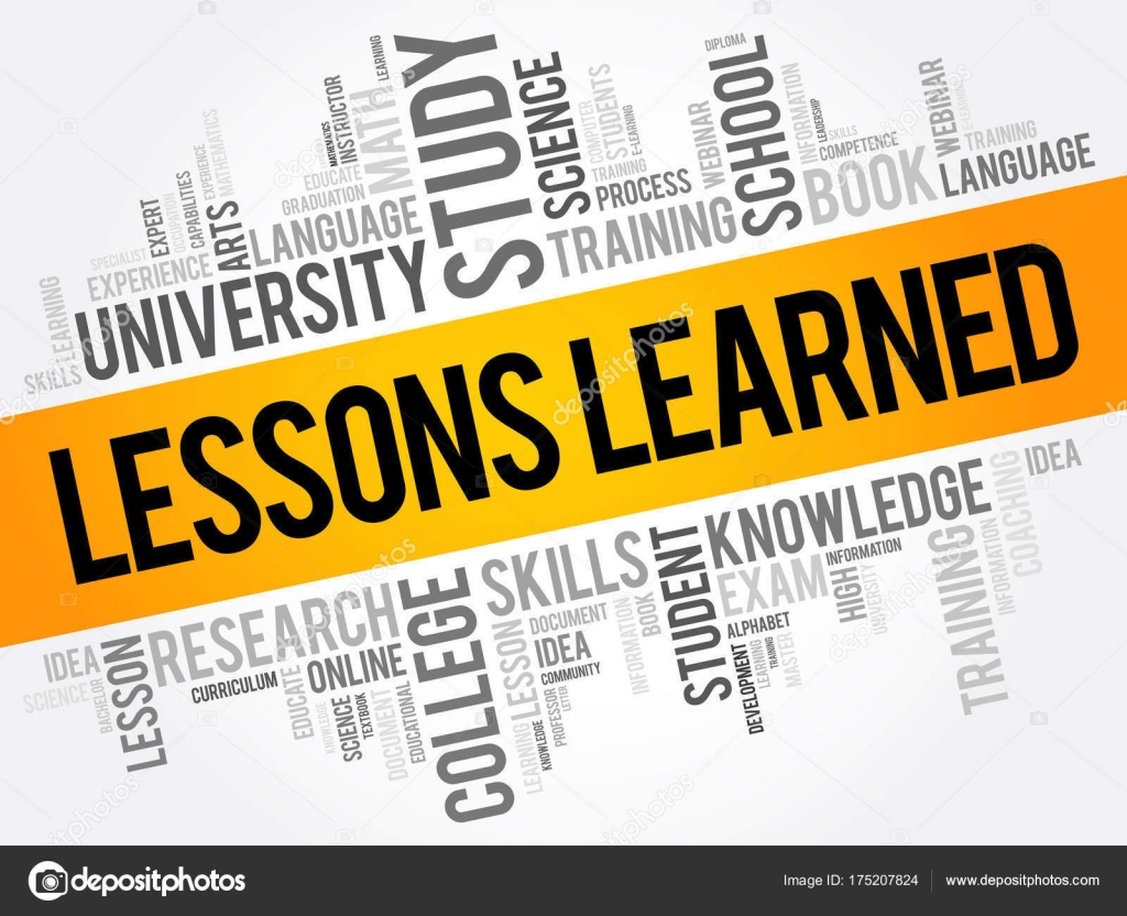 lessons learned word cloud collage � stock vector