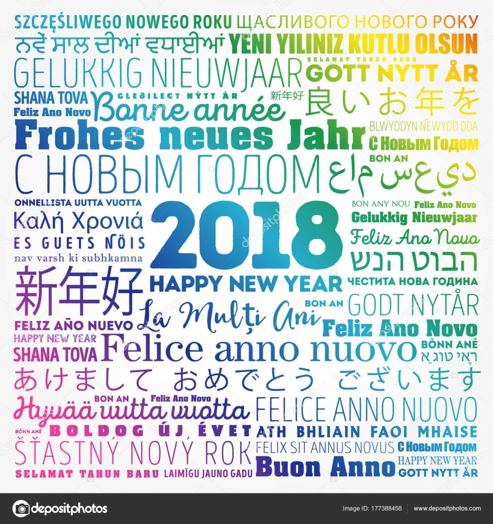 2018 happy new year in different languages stock vector 2018 happy new year in different languages celebration word cloud greeting card vector by dizanna kristyandbryce Image collections