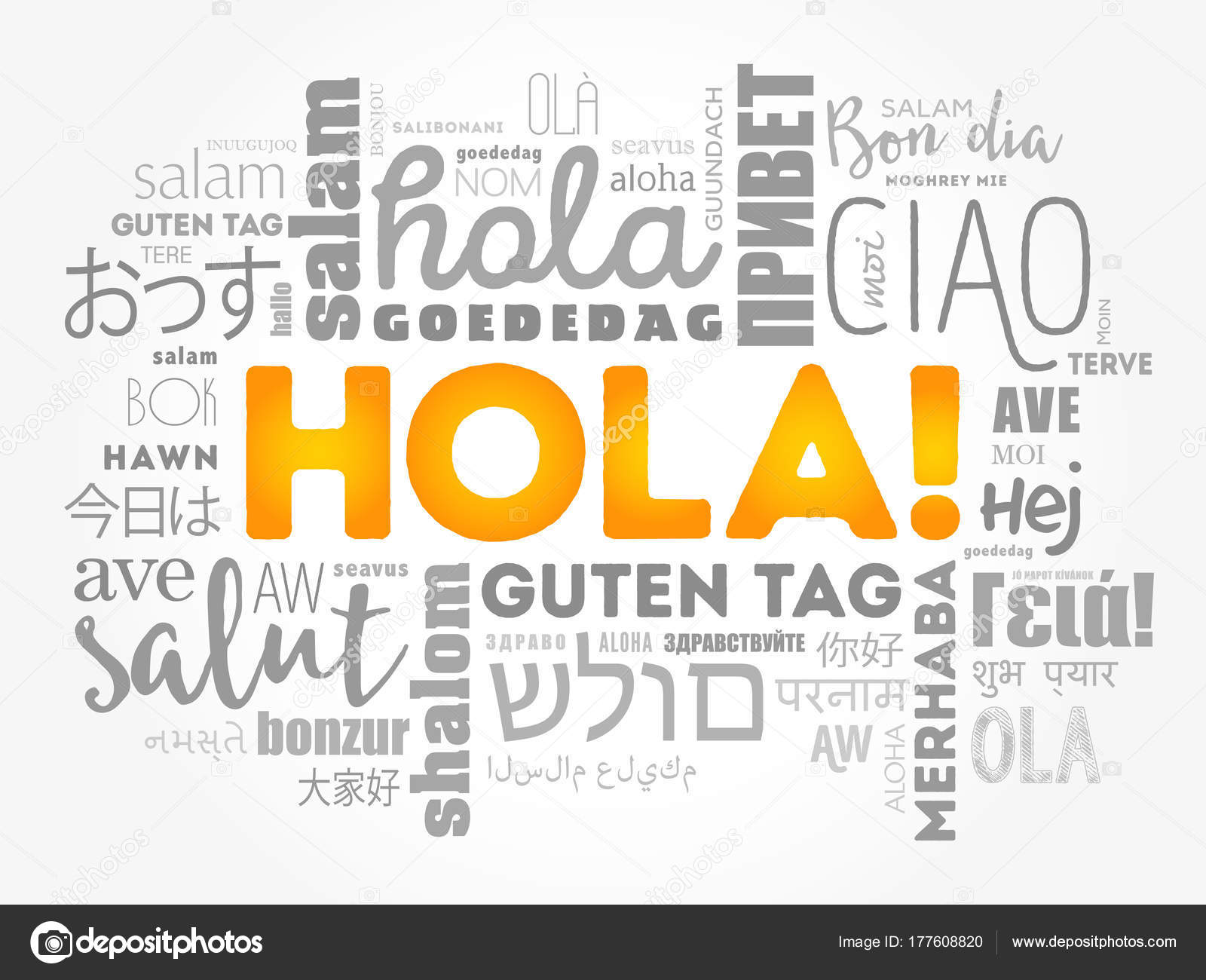 Hola hello greeting in spanish word cloud stock vector hello greeting in spanish word cloud in different languages of the world background concept vector by dizanna kristyandbryce Image collections