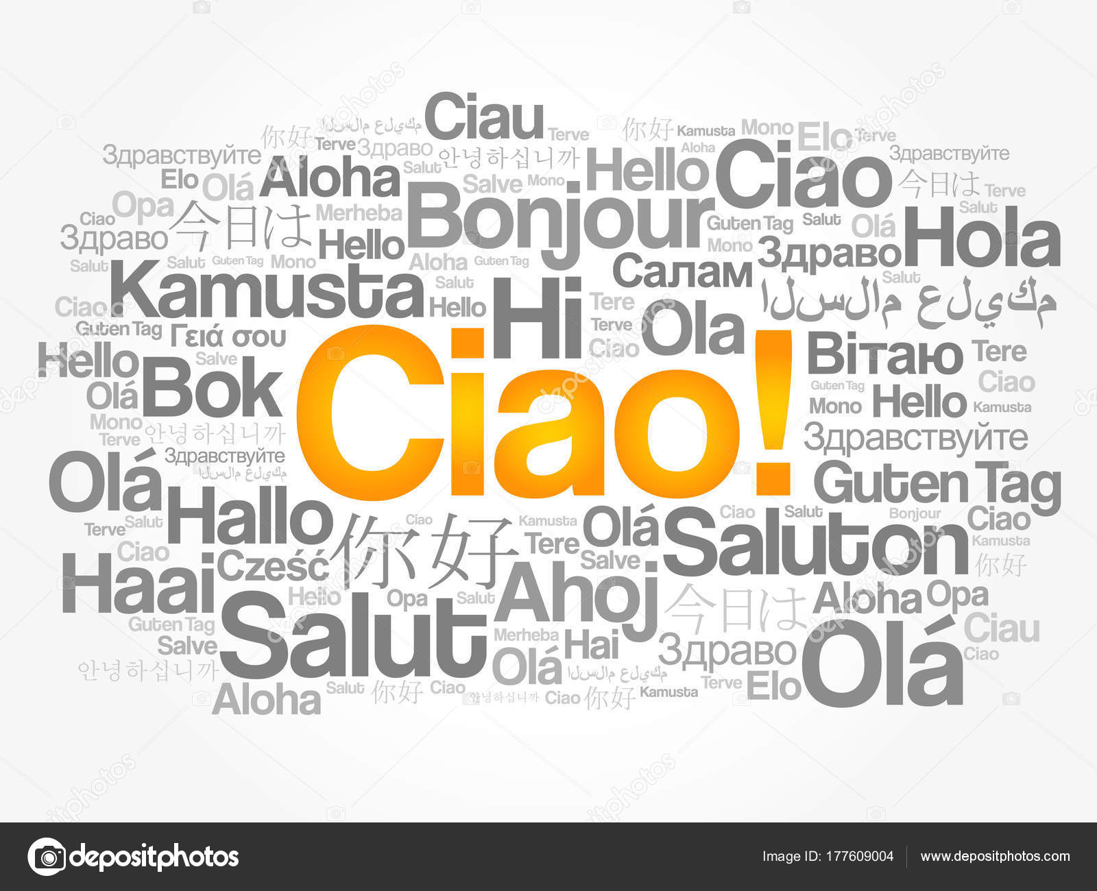 Ciao hello greeting in italian word cloud stock vector ciao hello greeting in italian word cloud in different languages of the world background concept vector by dizanna kristyandbryce Gallery