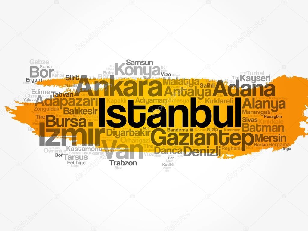 トルコ語クラウド マップの都市...