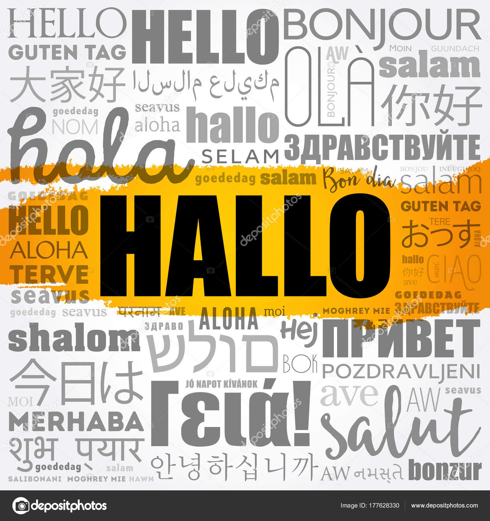 Hallo hello greeting in german stock vector dizanna 177628330 hallo hello greeting in german word cloud in different languages of the world background concept vector by dizanna m4hsunfo