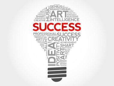 SUCCESS bulb word cloud collage