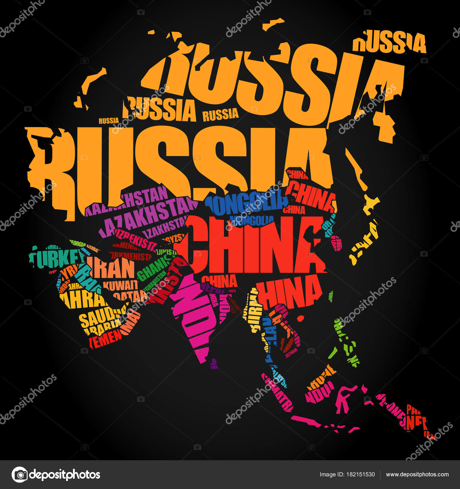 Asia map in typography word cloud stock vector dizanna 182151530 asia map in typography word cloud concept names of countries vector by dizanna gumiabroncs Choice Image