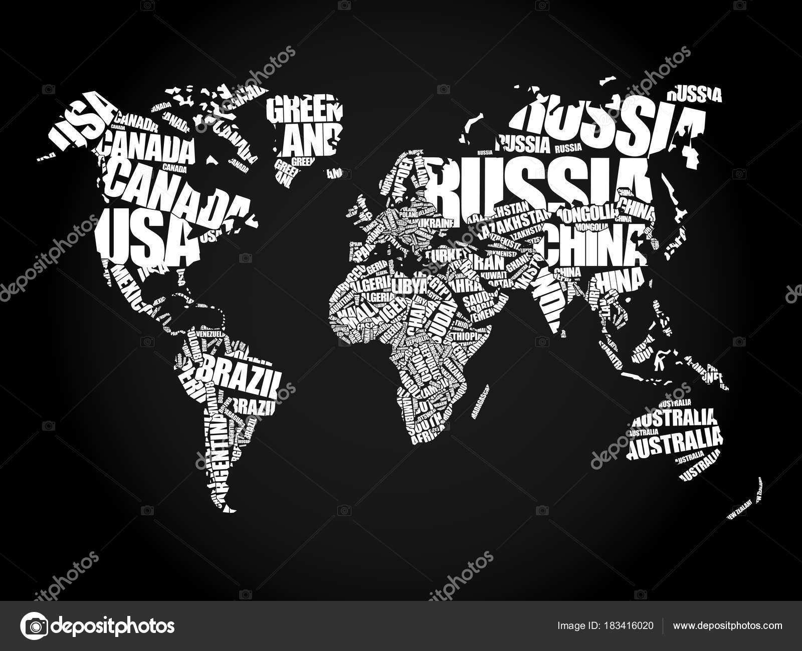 Mapa del mundo en nube de word de tipografa vector de stock mapa del mundo en concepto de tipografa word cloud nombres de pases vector de dizanna gumiabroncs Choice Image