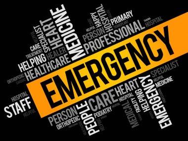 Emergency word cloud collage