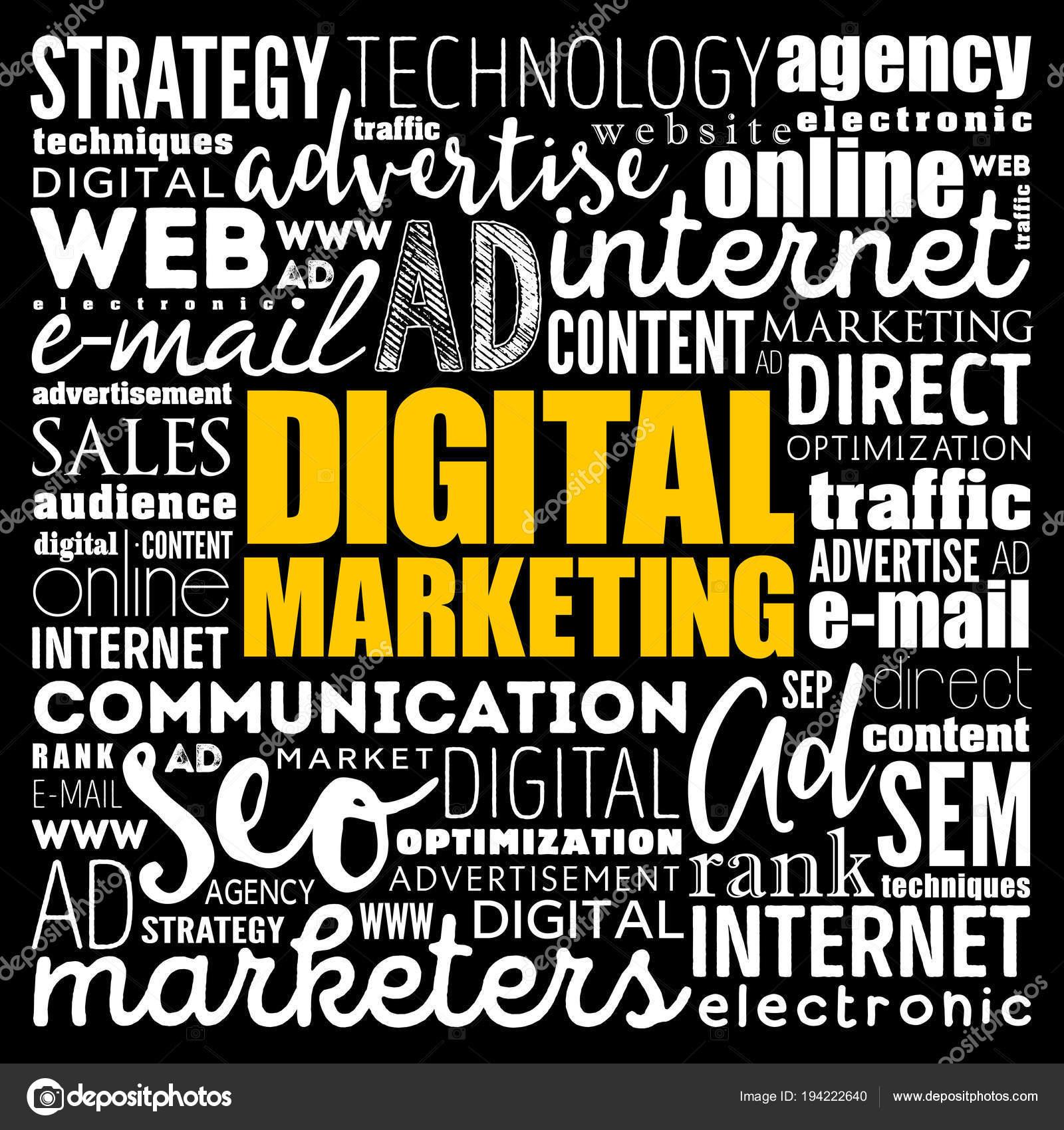 digital marketing word cloud collage stock vector dizanna 194222640