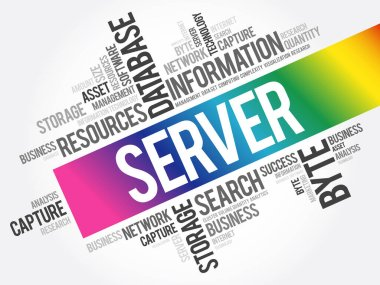 SERVER word cloud collage, business concept background