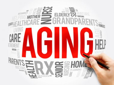 Aging word cloud collage, social concept background