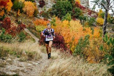 Runner skyrunner runs with walking sticks on a mountain trail in autumn forest
