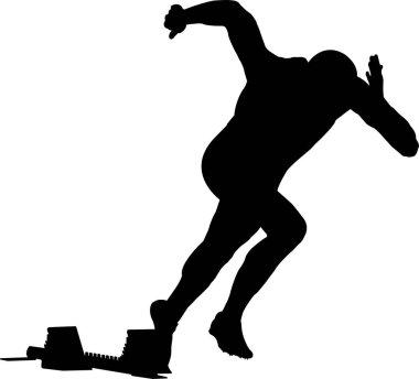 start men runner of sprint in starting blocks