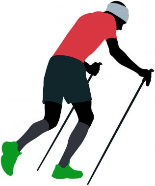 male runner with trekking poles