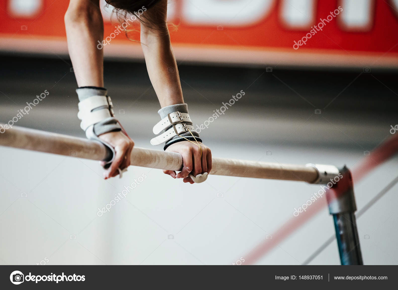a4d0d1c251ab girl gymnast exercise on uneven bars — Stock Photo © sportpoint ...