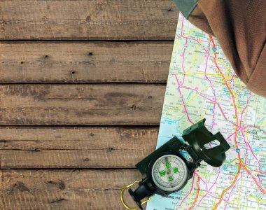 magnetic compass is located on  map
