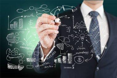 businessman and  analytics symbols