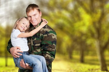 military soldier man with little girl