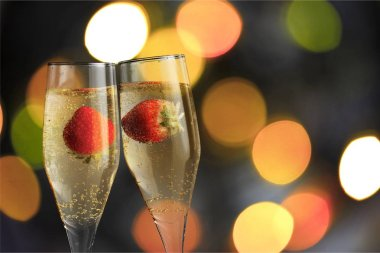 champagne flutes filled with chilled bubbly