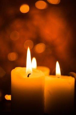 Christmas candles burning at night