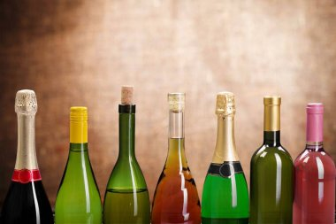 Wine bottles in row isolated