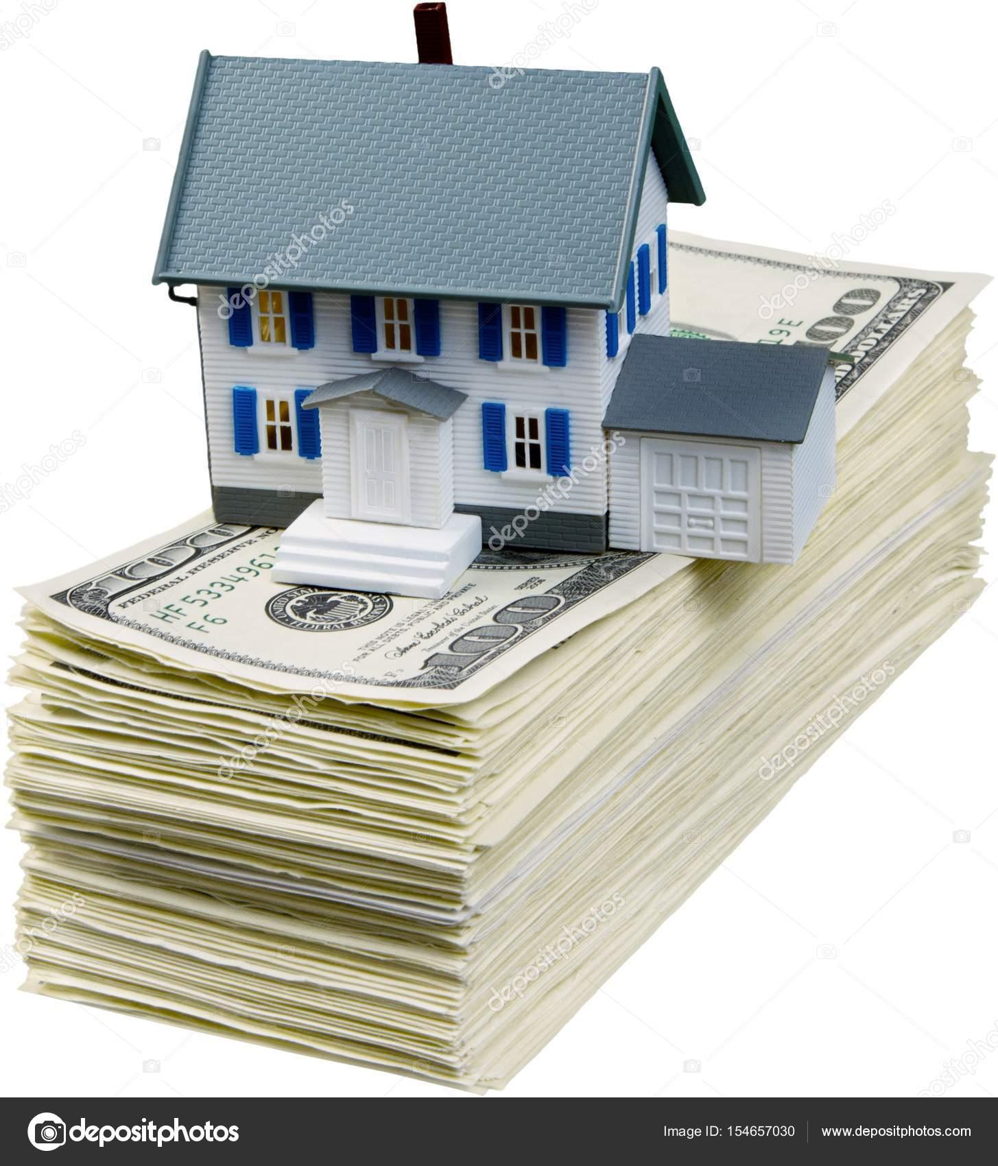 Einsparungen Für Den Kauf Des Hauses. Dollar Bils Und Haus Modell U2014 Foto  Von Billiondigital