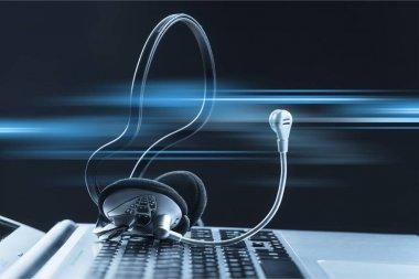 Computer headphones with laptop