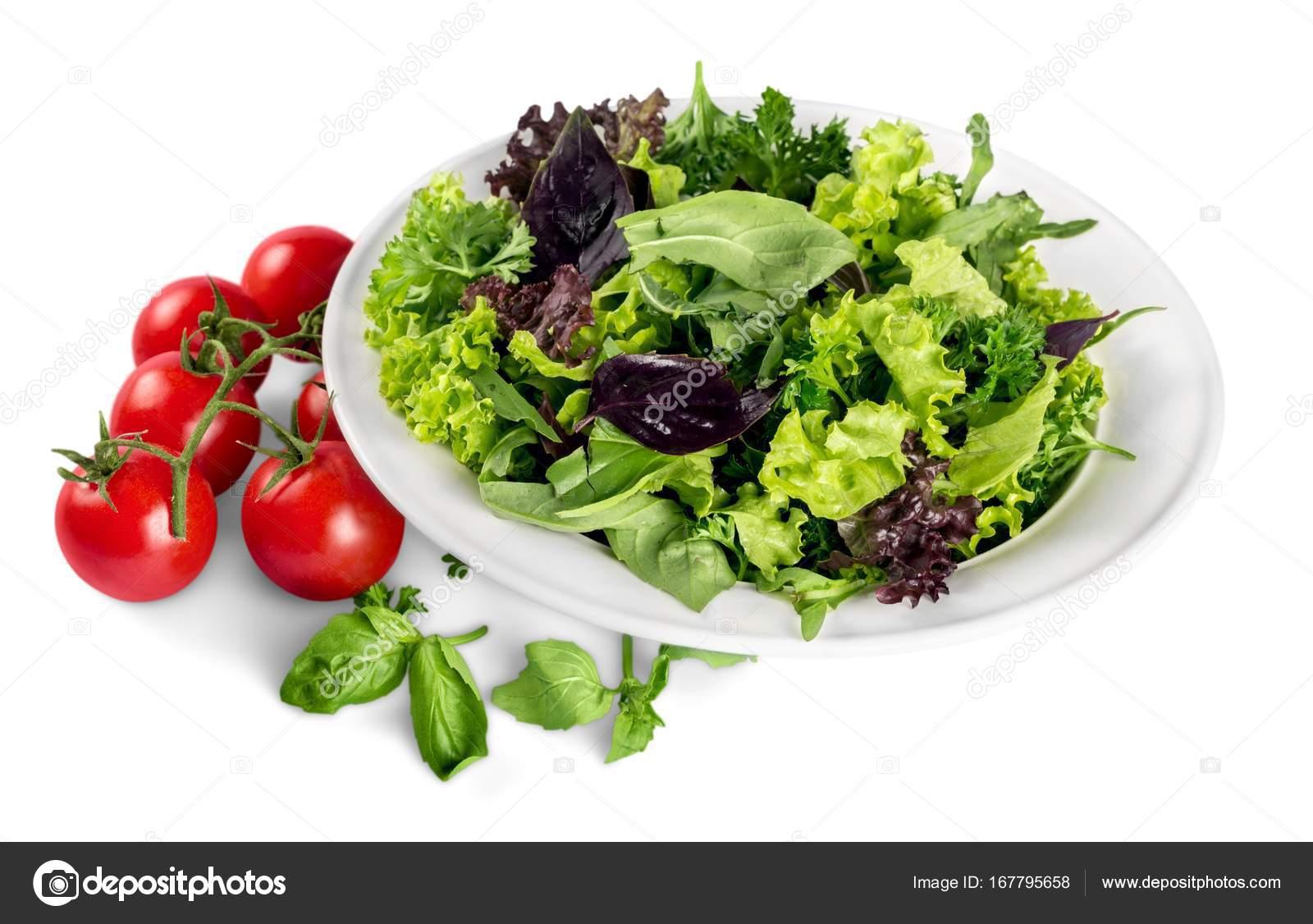 Close Tasty Fresh Salad White Plate Isolated White