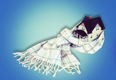 house model in scarf