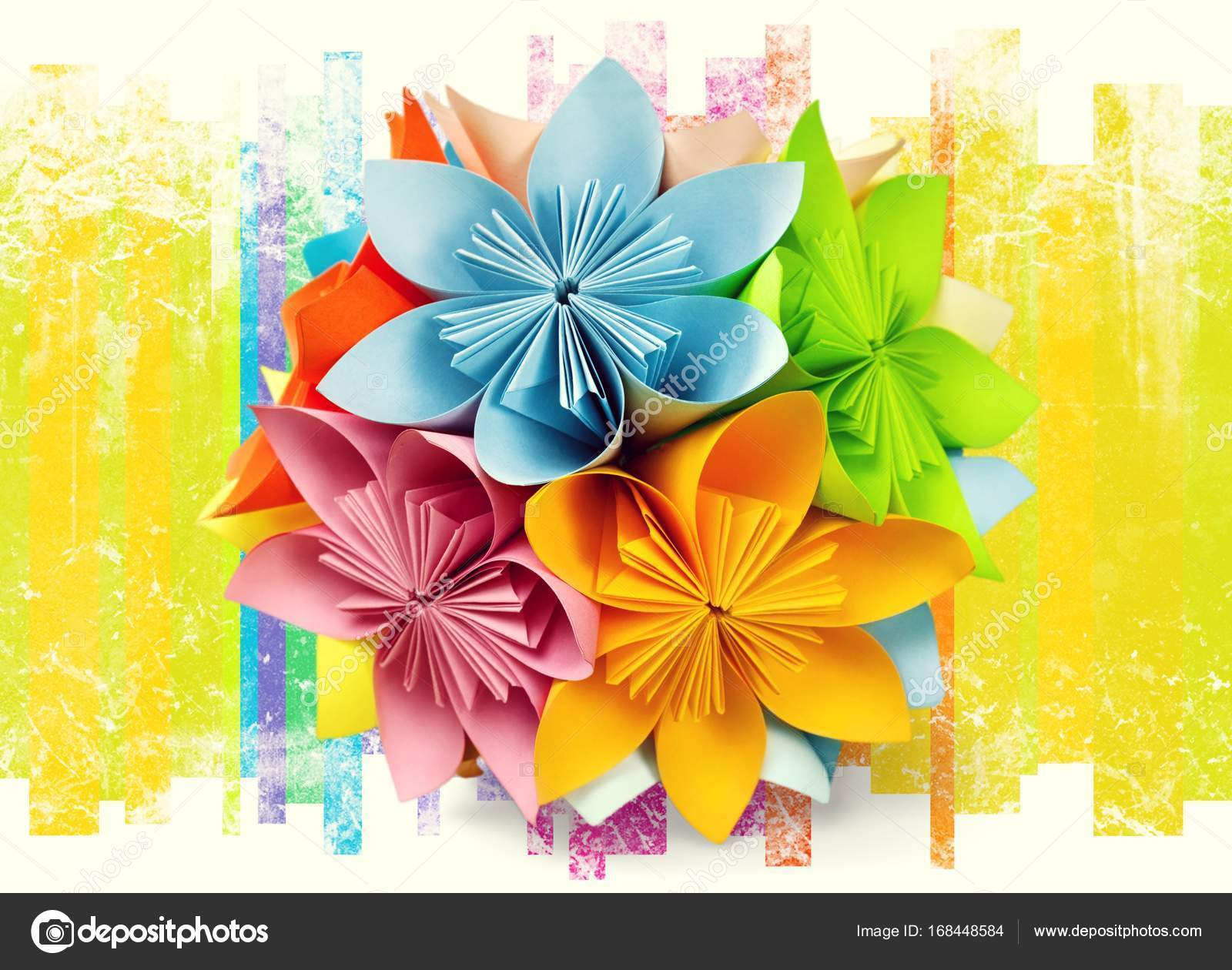 Origami Flowers On Background Stock Photo Billiondigital 168448584