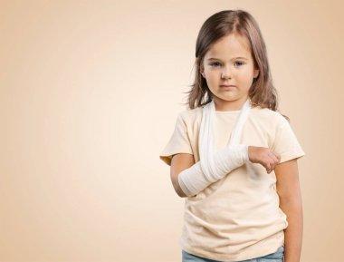 cute little girl with broken arm