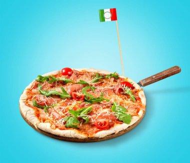 Tasty fresh baked pizza on wooden background