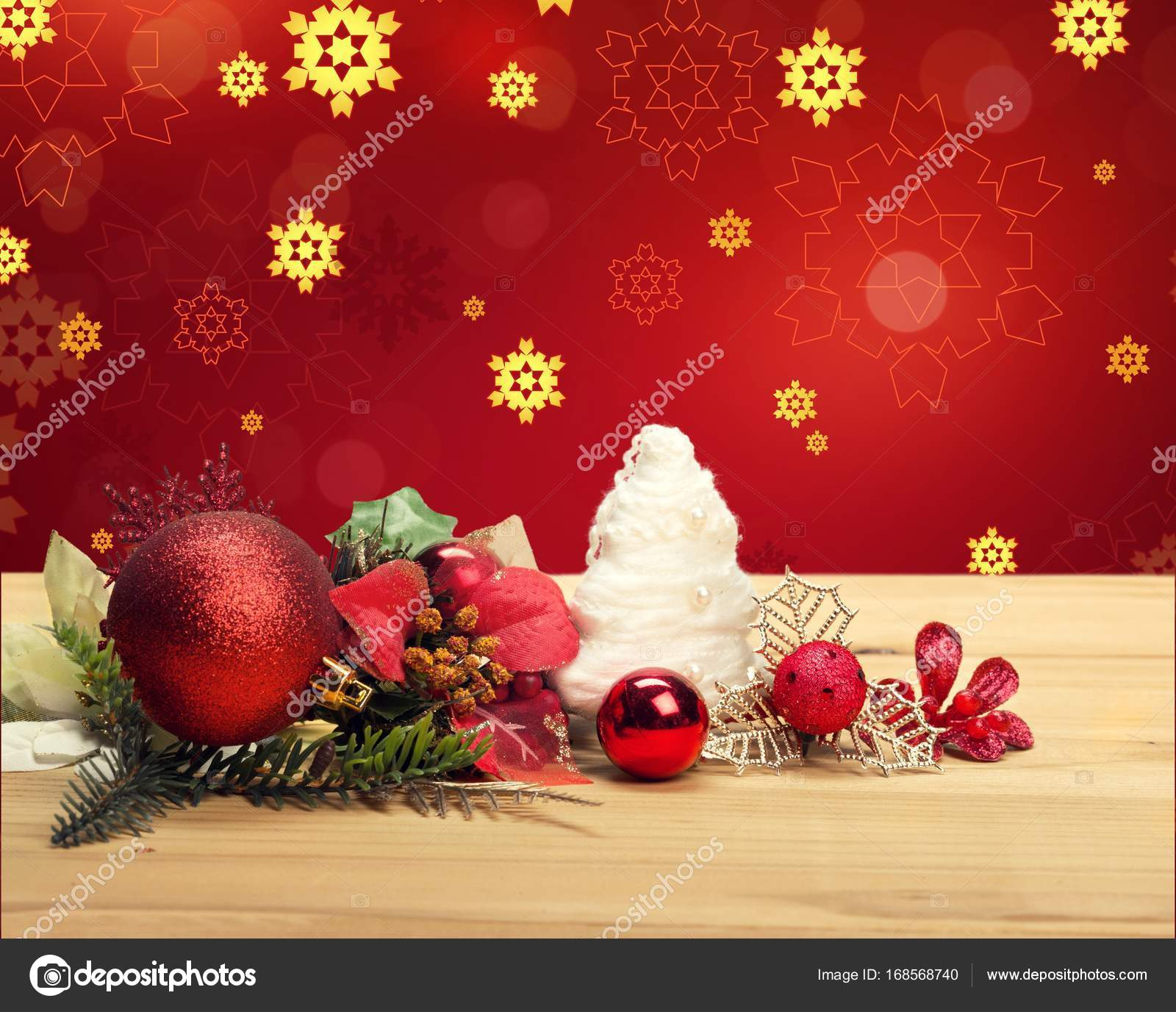 beautiful christmas decorations. Beautiful Christmas Decorations On Wooden Table \u2014 Photo By Billiondigital E