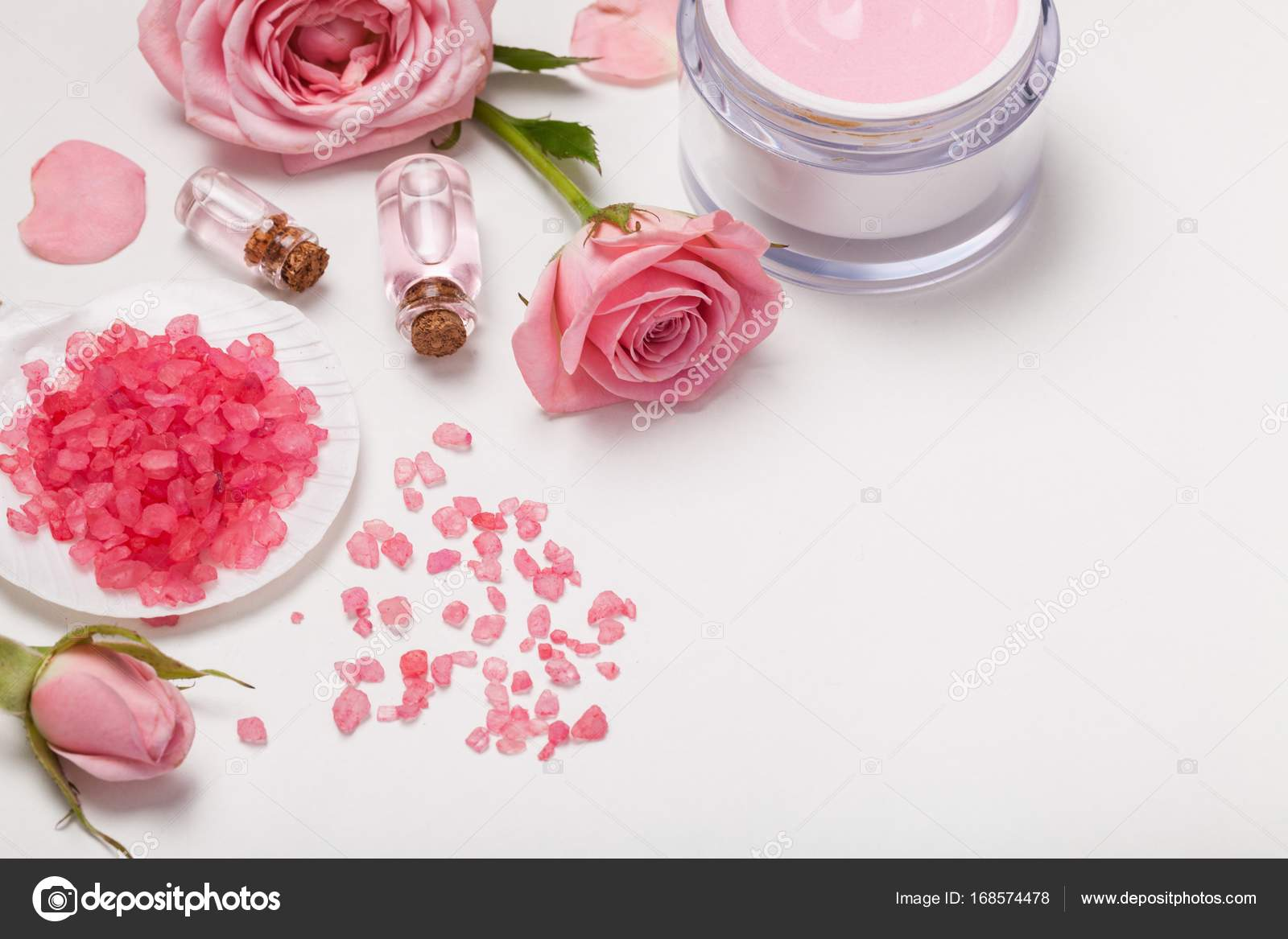Bath Spa Flowers Beauty Products Towel Stock Photo