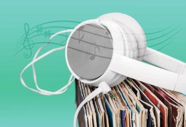 Vinyl records and headphones