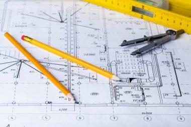 Architectural project, blueprints, helmet