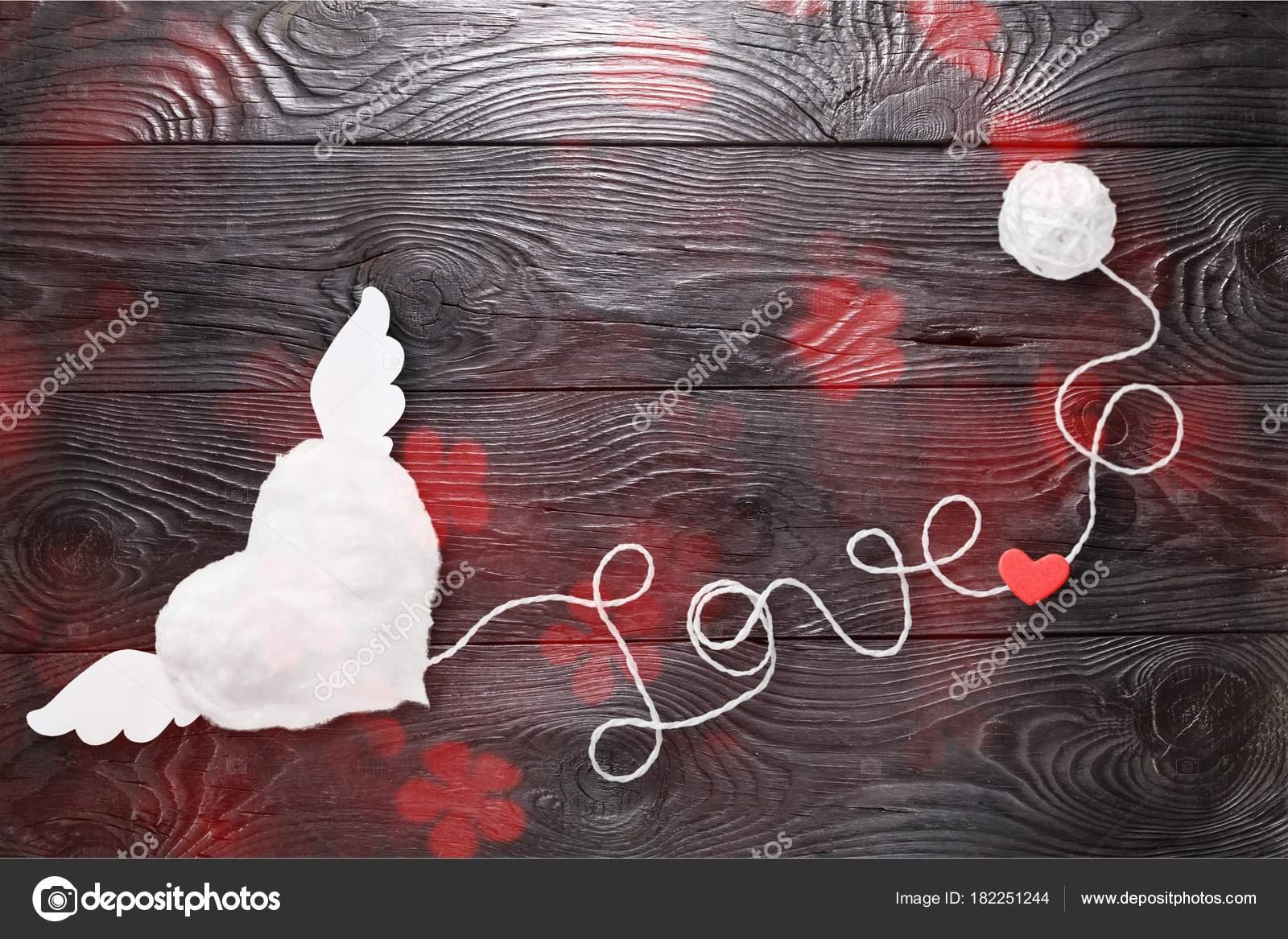 Texte Amour Avec Cœur Sur Fond Bois Photographie
