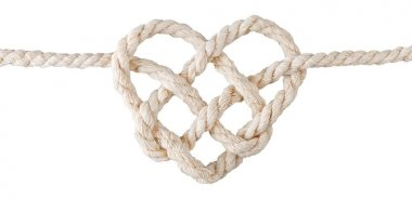 rope with heart isolated on white background