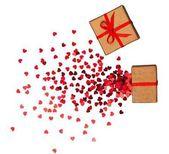 Fotografie detail z dárkových krabic pro Valentýn na pozadí