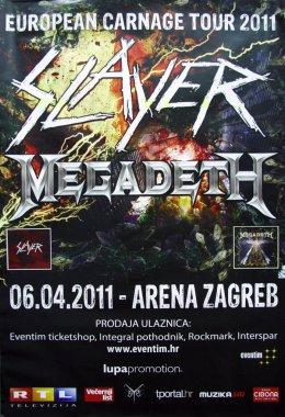 ZAGREB, CROATIA - APRIL 6, 2011: Poster for Slayer and Megadeth European Carnage tour at Arena Zagreb, Zagreb, Croatia, Europe
