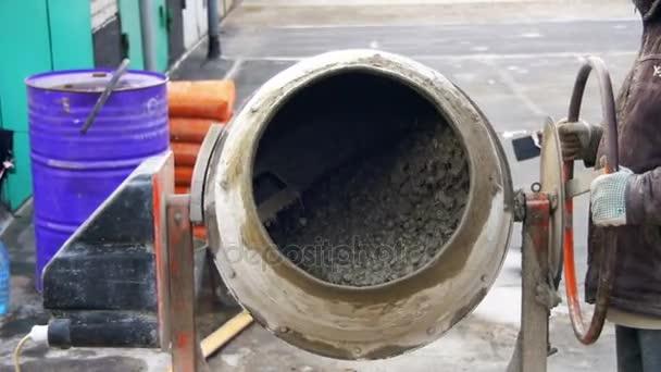 Concrete Mixer Work on Construction Sites and Knead Concrete. Slow Motion