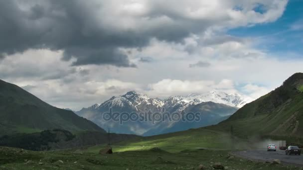 Clouds Moving over the Georgian Mountains. Cinemagraph. Mount Kazbek. Time Lapse