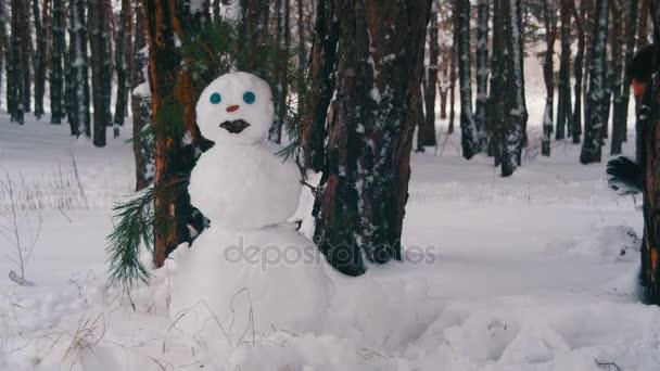 Muž v borovém lese modeluje sněhulák