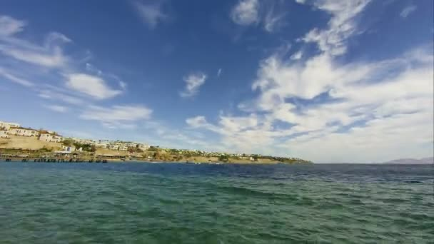Panoramic view of Beach and Red Sea Coast in Egypt Resort. Time Lapse