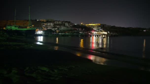 Night Beach in Egypt. Resort in Red Sea Coast. Time Lapse