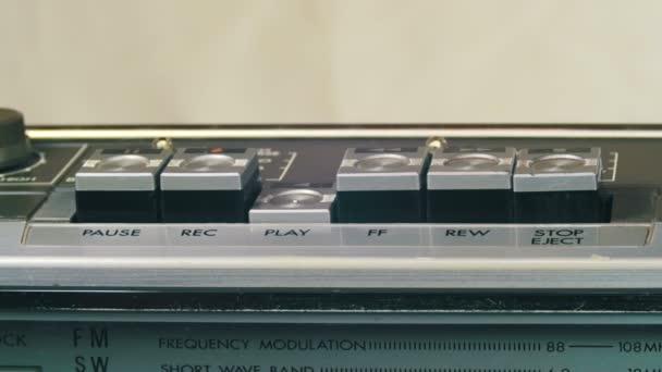 Tlačení, Play, Stop, Rec, vpřed, vzad tlačítko na vinobraní magnetofon