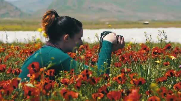 Žena je fotografování pole z kvetoucí máky v horách