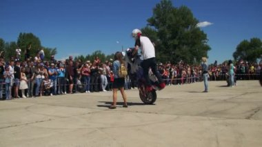 Stunt Moto Show. Extreme Motorsports. Bikers Parade And Show