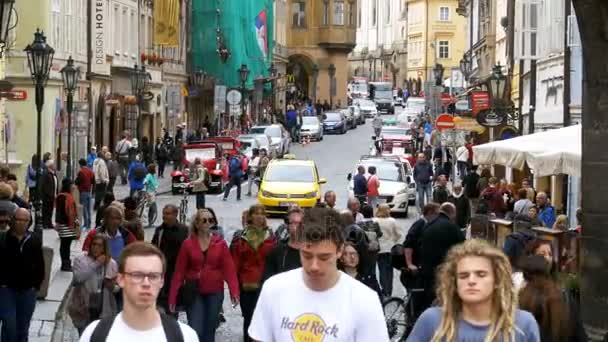 Crowd of people walking on the streets of Prague, Czech Republic