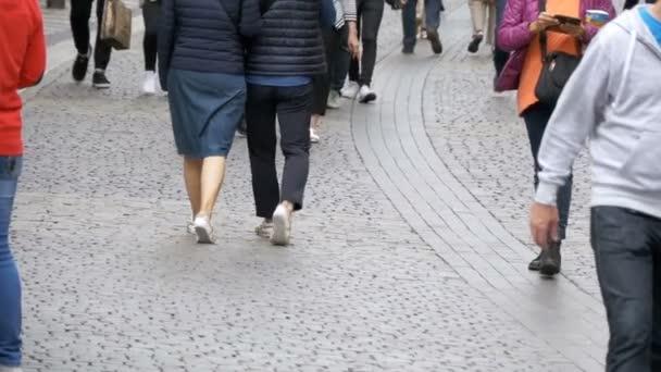 Legs of Crowd People Walking on the Street in Slow Motion