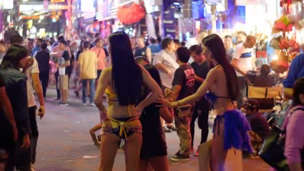 Prostitutes on Pattaya Walking Street is red-light district. Thailand. Night life and sexual entertainments
